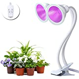 2x12W Full Power Indoor Plant Grow Lights, 60 LED Blubs Red & Blue Spectrum with Dual Head Control Adjustable Gooseneck, Clip for Indoor Plant Greenhouse Hydroponic