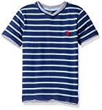 U.S. Polo Assn. Big Boys' Short Sleeve Striped V-Neck T-Shirt, Artist Blue, 14/16