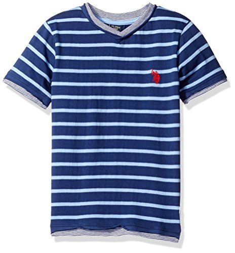 U.S. Polo Assn. Boys' Big Short Sleeve Striped V-Neck T-Shirt, Artist Blue, 14/16