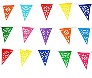 Triangle Plastic Mexican Banner- Multicolor