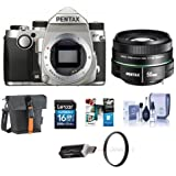 Pentax KP 24MP TTL Autofocus DSLR Camera Silver With SMCP-DA 50mm f/1.8 Standard Lens - Bundle With 16GB SDHC Card, Holster Bag, Cleaning Kit, 52mm UV Filter, Card Reader, Software Package