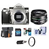 Pentax KP 24MP TTL Autofocus DSLR Camera Silver With Pentax SMCP-DA 50mm f/1.8 Standard Lens - Bundle With 16GB SDHC Card, Holster Bag, Cleaning Kit, 52mm UV Filter, Card Reader, Software Package