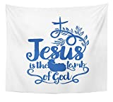 Emvency Tapestry Baptism Bible Lettering Christian Jesus Ia the Lamb of God Biblical Catholic Home Decor Wall Hanging 50'' x 60'' Inches Print For Living Room Bedroom Dorm