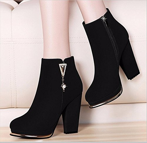 KHSKX-Retro Rough With Short Boots Winter Boots With Thick And Velvet Waterproof Suede High-Heeled Shoes Boots Round Warm Shoes Thirty-six XAiAOX56S
