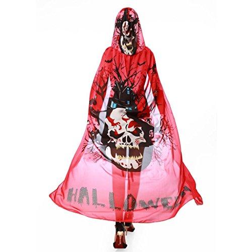 WINWINTOM Mujeres Chicas Novia Chiffon Cabo Bufanda Envoltura De Chal De Poncho De Halloween Capa De ImpresióN De Calabaza Rojo