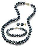 14K Gold 6.5-7.0mm Black Akoya Cultured Pearl Necklace, Bracelet & Earrings Set, 18'' - AA+ Quality