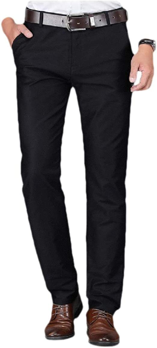 VITryst Men Non-Iron Cotton Fit Relaxed-Fit Oversized Business Plain-Front Pant