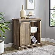 WE Furniture AZF32ALGRDRO Modern Farmhouse Buffet Entryway Bar Cabinet Storage, 32 Inch, Brown Reclaimed Barnwood