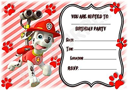 Paw Patrol Party Invites - Marshall Frame Design - Party Supplies / Accessories (Pack of 12 A5 Invitations With Envelopes) MrPurple