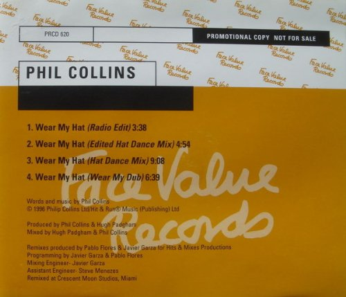 Phil Collins - Wear My Hat Cd Single 4 Tracks (W/ Rare Mixes