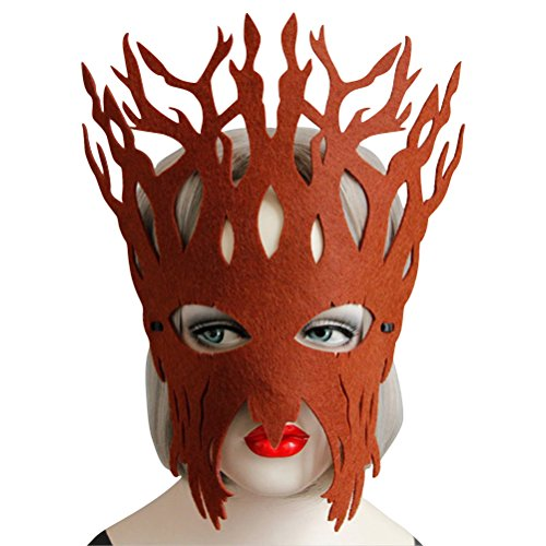 ACE SHOCK Tree Costume Mask for Women Cute, Halloween Masquerade Funny Eye Masks Black Beige Brown (Brown) -