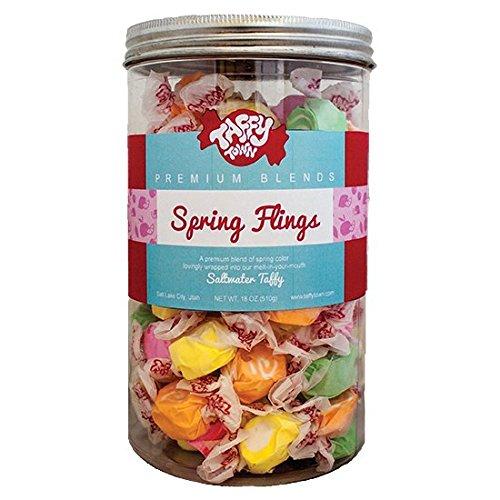 Taffy Town Gourmet Salt Water Taffy Gift Jars, 18 Ounces (Spring Flings)
