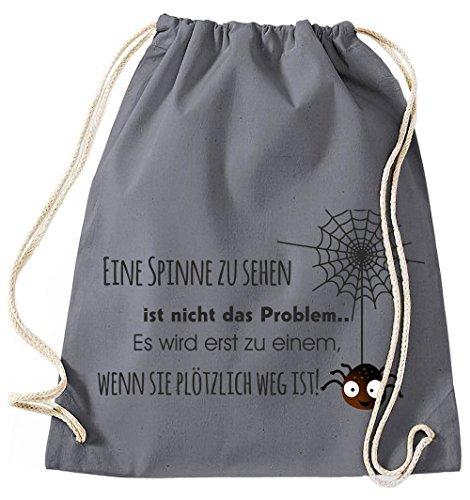 Bolsa de Yute Bolsa de Gimnasio Bolsas de deporte Bolsa de tela bolsa de algodón MOCHILA GYMSACK Spider tejido una araña ZU Sehen no es el problema - Turquesa, 37 x 46 cm gris