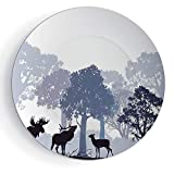 iPrint 7'' Ceramic Decorative Plates Moose Pattern Ceramic Plate Forest Design Abstract Woods North American Wild Animals Deer Hare Elk Trees