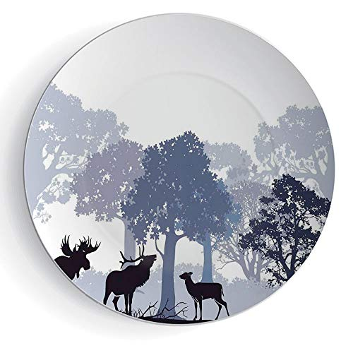 iPrint 7'' Ceramic Decorative Plates Moose Pattern Ceramic Plate Forest Design Abstract Woods North American Wild Animals Deer Hare Elk Trees by iPrint