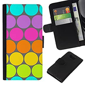 All Phone Most Case / Oferta Especial Cáscara Funda de cuero Monedero Cubierta de proteccion Caso / Wallet Case for Samsung ALPHA G850 // Dot Pattern Blue Lime Green Colorful