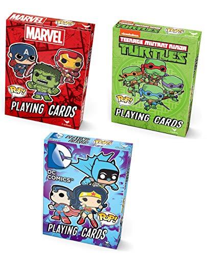 Super Hero Pop Playing Cards DC Comics Marvel TMNT Spiderman Hulk Captain America Superman Batman Harley Quinn Teenage Mutant Ninja Turtles Bundle 3 Sets