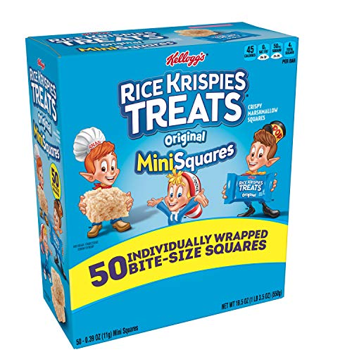 Kellogg's, Rice Krispies Treats Crispy Marshmallow Mini-Squares, Original, Single Serve, Display Box Caddy, 0.39 oz Bars (50 Count) -