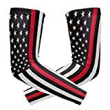 Wamika Arm Sleeve for Men Women Thin Red Line Plice UV Protection Cooling Long Sports Compression Arms Cover Tattoo Sleeves Perfect for Baseball Football Basketball Running - 1 Pair