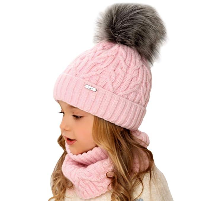 AJS Mädchen Winterset Kindermütze Wintermütze Beanie Mütze Loopschal mit Wolle