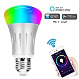 Smart LED Bulb, Weton Multicolored WiFi Smart Light Bulbs Work with Amazon Alexa Google Home,No Hub Required, Remote Control via Free App for IOS Android,Dimmable Night Light Sunrise Wake Up Light