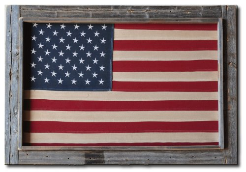 Barn Wood Rustic Framed Cotton Tea Stained American Flag