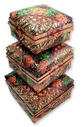 NOVICA Decorative Floral Bamboo Baskets Box, Red, 'Javanese Princess' (Set of 3) by NOVICA