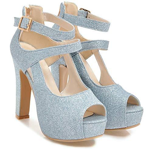 De Chaussures Femme Mariage Belle Bouche Paillettes Ouverte Bleu Sandales Aisun YXwqBX