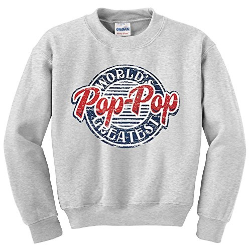 Fresh Tees Brand- World's Greatest Pop-Pop Father's Day T-shirt (X-Large, Grey Crew Neck Sweatshirt)