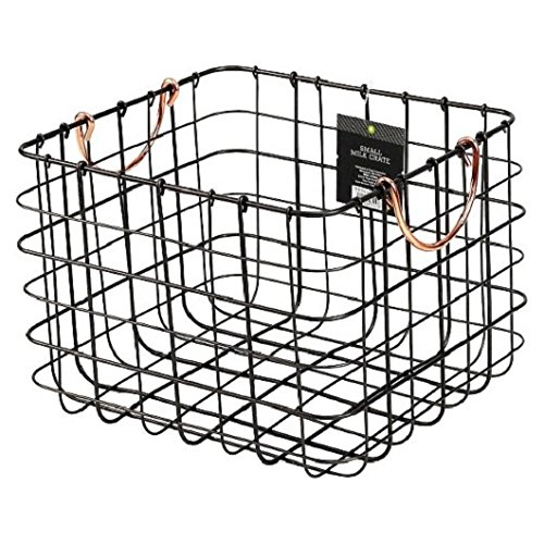 Small Milk Crate Wire Basket - Antique Pewter with Copper Colored Handles (Colored Wire Baskets)