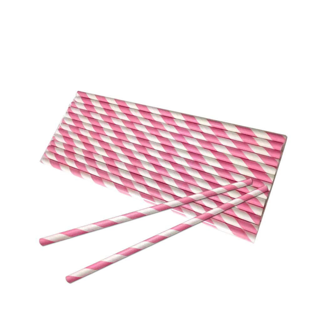 20 Pcs Disposable Drink Paper Straws,Coffee Shop Library Tea Shop Supplies Theme Drinking Rainbow Straws (Red)