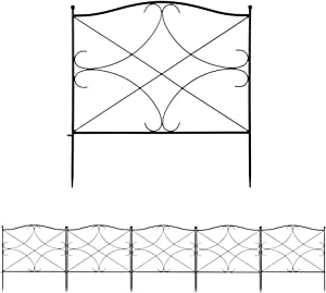 Moskado Garden Fence 24inx24in Outdoor Rustproof Metal Landscape Wire Fencing Folding Wire Patio Fences Flower Bed Animal Dogs Barrier Border Edge Section Edging Decor Picket Black