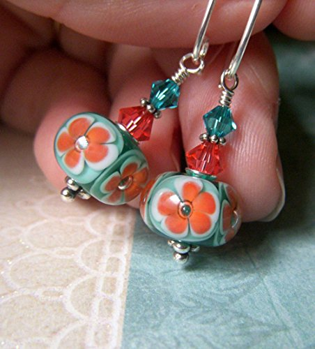 Coral and Teal Lampwork Glass Earrings, Floral Sterling Silver Swarovski, Handmade USA Artisan