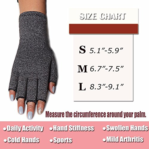 COLO Arthritis Gloves Compression Gloves for Rheumatoid & Osteoarthritis - Men & Women Hand Gloves Provide Arthritic Joint Pain Symptom Relief - Open Finger (S) by COLO (Image #7)