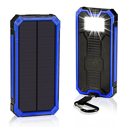 Solar Chargers 15000mAh, GRDE Portable Dual USB Solar Battery Charger External Battery Pack Phone Charger Power Bank with Flashlight for Smartphones Tablet Camera (Blue)