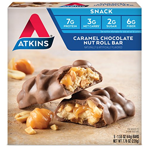 Atkins Snack Bars, Caramel Chocolate Nut Roll, 7g Protein, 2g Sugar, 3g Net Carbs, 5-Bars (Packaging May Vary)