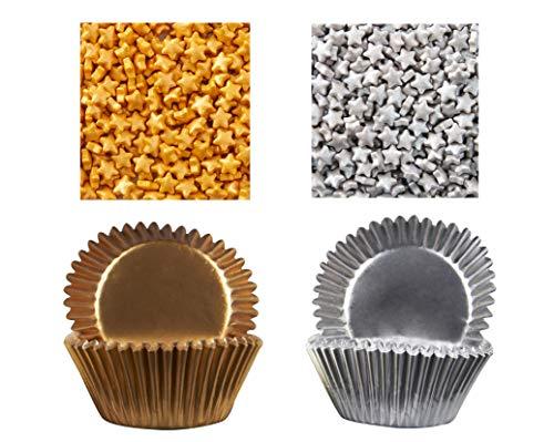 Silver & Gold Standard Foil Baking Cups & Star Shaped Sprinkles Novelty Party Celebration Cupcake Baking Decorating Bundle