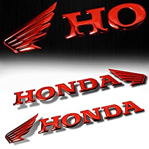 "(Pack of 2) 7"" x 1.5"" 3D ABS Emblem Decal Wing Logo + Letter Glossy Sticker Honda Red"
