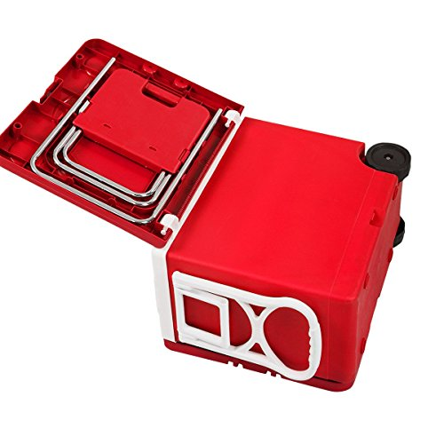 CHOOSEandBUY Multi Functional Rolling Picnic Cooler w/Table & 2 Chairs - RED by CHOOSEandBUY (Image #5)