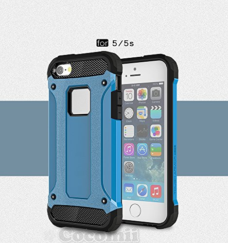 iPhone SE / 5S / 5C / 5 Case, Cocomii Commando Armor NEW [Heavy Duty] Premium Tactical Grip Dustproof Shockproof Hard Bumper Shell [Military Defender] Full Body Dual Layer Rugged Cover Apple (Blue)