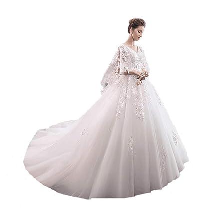 Vestido de novia de Gran tamaño Delgada Cola, con Cuello en v Elegante Bordado Ailin