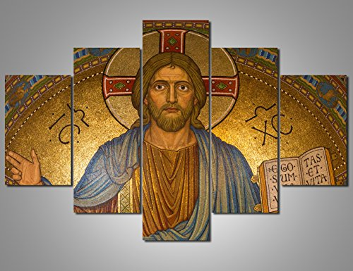 Art Work for Home Walls Jesus Paintings Christianity Pictures 5 Pcs/Multi Panel Catholic Canvas Artwork Home Decorations for Living Room Giclee Framed Ready to Hang Posters and Prints(60''Wx40''H) (Catholic Free Pictures)
