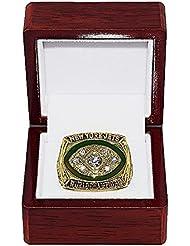 NEW YORK JETS (Joe Namath) 1968 SUPER BOWL III WORLD CHAMPIONS Vintage Rare & Collectible High-Quality Replica NFL Football Gold Championship Ring with Cherrywood Display Box