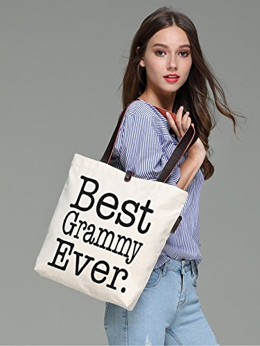 So'each Women's Best Grammy Graphic Top Handle Canvas Tote Shoulder Bag