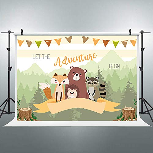 Riyidecor Forest Animal Backdrop Cartoon Cute Photography Background Colorful Wildlife for Kids 7x5ft Decoration Celebration Props Party Photo Shoot Backdrop Blush Vinyl Cloth