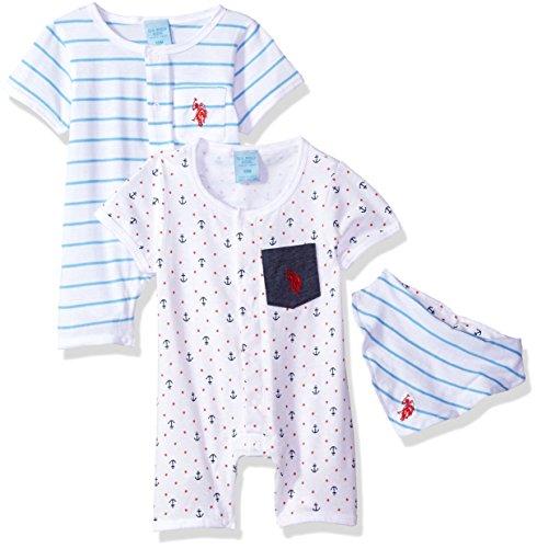 (U.S. Polo Assn. Baby Boys Romper, Anchors dots Stripes caps Allover Print, 6-9 Months)