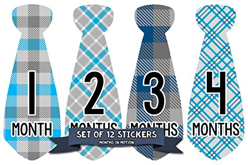 Monthly Baby Stickers Necktie Tie Boy Month Milestone Sticke