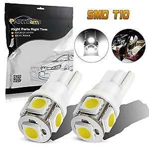 Partsam 2 x 168 194 T10 5SMD LED Bulbs Car License Plate Lights Lamp White 12V
