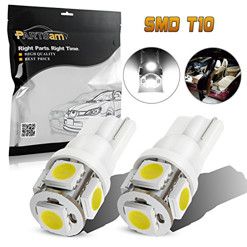 Partsam 2 x 168 194 T10 5SMD LED Bulbs Car License Plate Lights Lamp White 12V