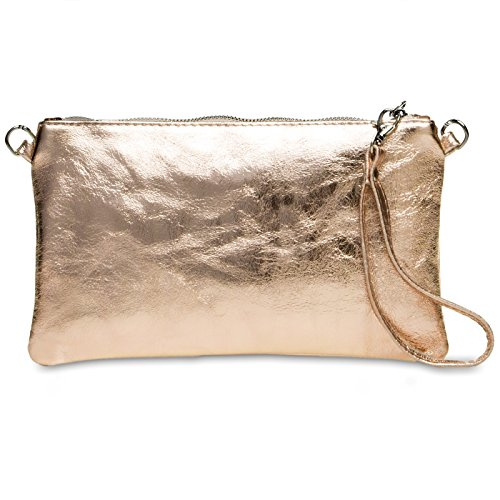 CASPAR TL717 Bolso de Mano Fiesta para Mujer / Clutch Metalizado de Cuero Genuino Rosa